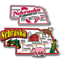 Nebraska Jumbo & Premium State Map Magnet Set by Classic Magnets, 2-Piece Set, Collectible Souvenirs Made in the USA