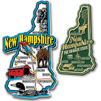 New Hampshire Jumbo & Premium State Map Magnet Set by Classic Magnets, 2-Piece Set, Collectible Souvenirs Made in the USA
