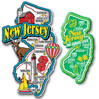 New Jersey Jumbo & Premium State Map Magnet Set by Classic Magnets, 2-Piece Set, Collectible Souvenirs Made in the USA