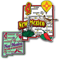 New Mexico Jumbo & Premium State Map Magnet Set by Classic Magnets, 2-Piece Set, Collectible Souvenirs Made in the USA
