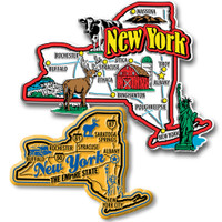 New York Jumbo & Premium State Map Magnet Set by Classic Magnets, 2-Piece Set, Collectible Souvenirs Made in the USA