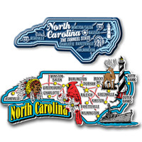 North Carolina Jumbo & Premium State Map Magnet Set by Classic Magnets, 2-Piece Set, Collectible Souvenirs Made in the USA