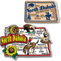 North Dakota Jumbo & Premium State Map Magnet Set by Classic Magnets, 2-Piece Set, Collectible Souvenirs Made in the USA