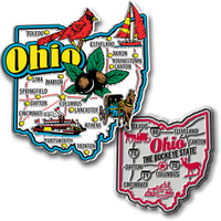 Ohio Jumbo & Premium State Map Magnet Set by Classic Magnets, 2-Piece Set, Collectible Souvenirs Made in the USA