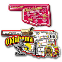 Oklahoma Jumbo & Premium State Map Magnet Set by Classic Magnets, 2-Piece Set, Collectible Souvenirs Made in the USA
