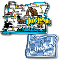 Oregon Jumbo & Premium State Map Magnet Set by Classic Magnets, 2-Piece Set, Collectible Souvenirs Made in the USA