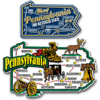 Pennsylvania Jumbo & Premium State Map Magnet Set by Classic Magnets, 2-Piece Set, Collectible Souvenirs Made in the USA