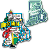 Rhode Island Jumbo & Premium State Map Magnet Set by Classic Magnets, 2-Piece Set, Collectible Souvenirs Made in the USA
