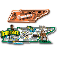 Tennessee Jumbo & Premium State Map Magnet Set by Classic Magnets, 2-Piece Set, Collectible Souvenirs Made in the USA