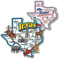 Texas Jumbo & Premium State Map Magnet Set by Classic Magnets, 2-Piece Set, Collectible Souvenirs Made in the USA