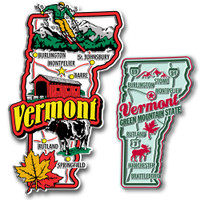 Vermont Jumbo & Premium State Map Magnet Set by Classic Magnets, 2-Piece Set, Collectible Souvenirs Made in the USA