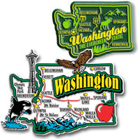 Washington Jumbo & Premium State Map Magnet Set by Classic Magnets, 2-Piece Set, Collectible Souvenirs Made in the USA