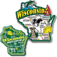 Wisconsin Jumbo & Premium State Map Magnet Set by Classic Magnets, 2-Piece Set, Collectible Souvenirs Made in the USA