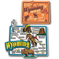 Wyoming Jumbo & Premium State Map Magnet Set by Classic Magnets, 2-Piece Set, Collectible Souvenirs Made in the USA