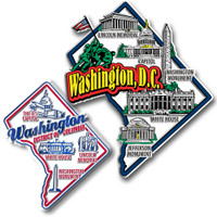 Washington, D.C. Jumbo & Premium State Map Magnet Set by Classic Magnets, 2-Piece Set, Collectible Souvenirs Made in the USA