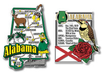Alabama Jumbo Map & State Montage Magnet Set by Classic Magnets, 2-Piece Set, Collectible Souvenirs Made in the USA