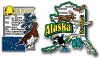 Alaska Jumbo Map & State Montage Magnet Set by Classic Magnets, 2-Piece Set, Collectible Souvenirs Made in the USA