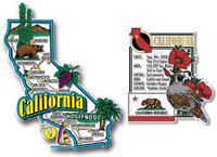 California Jumbo Map & State Montage Magnet Set by Classic Magnets, 2-Piece Set, Collectible Souvenirs Made in the USA