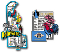 Delaware Jumbo Map & State Montage Magnet Set by Classic Magnets, 2-Piece Set, Collectible Souvenirs Made in the USA