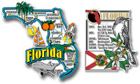 Florida Jumbo Map & State Montage Magnet Set by Classic Magnets, 2-Piece Set, Collectible Souvenirs Made in the USA