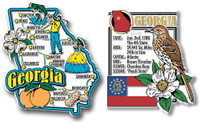 Georgia Jumbo Map & State Montage Magnet Set by Classic Magnets, 2-Piece Set, Collectible Souvenirs Made in the USA