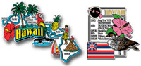 Hawaii Jumbo Map & State Montage Magnet Set by Classic Magnets, 2-Piece Set, Collectible Souvenirs Made in the USA