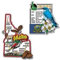 Idaho Jumbo Map & State Montage Magnet Set by Classic Magnets, 2-Piece Set, Collectible Souvenirs Made in the USA