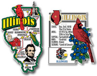Illinois Jumbo Map & State Montage Magnet Set by Classic Magnets, 2-Piece Set, Collectible Souvenirs Made in the USA