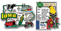 Iowa Jumbo Map & State Montage Magnet Set by Classic Magnets, 2-Piece Set, Collectible Souvenirs Made in the USA