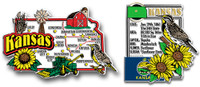 Kansas Jumbo Map & State Montage Magnet Set by Classic Magnets, 2-Piece Set, Collectible Souvenirs Made in the USA