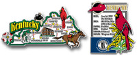Kentucky Jumbo Map & State Montage Magnet Set by Classic Magnets, 2-Piece Set, Collectible Souvenirs Made in the USA
