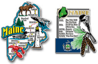 Maine Jumbo Map & State Montage Magnet Set by Classic Magnets, 2-Piece Set, Collectible Souvenirs Made in the USA