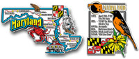 Maryland Jumbo Map & State Montage Magnet Set by Classic Magnets, 2-Piece Set, Collectible Souvenirs Made in the USA