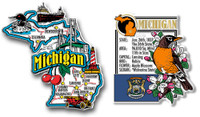 Michigan Jumbo Map & State Montage Magnet Set by Classic Magnets, 2-Piece Set, Collectible Souvenirs Made in the USA