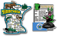 Minnesota Jumbo Map & State Montage Magnet Set by Classic Magnets, 2-Piece Set, Collectible Souvenirs Made in the USA