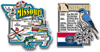 Missouri Jumbo Map & State Montage Magnet Set by Classic Magnets, 2-Piece Set, Collectible Souvenirs Made in the USA