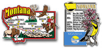 Montana Jumbo Map & State Montage Magnet Set by Classic Magnets, 2-Piece Set, Collectible Souvenirs Made in the USA