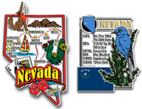 Nevada Jumbo Map & State Montage Magnet Set by Classic Magnets, 2-Piece Set, Collectible Souvenirs Made in the USA