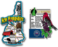 New Hampshire Jumbo Map & State Montage Magnet Set by Classic Magnets, 2-Piece Set, Collectible Souvenirs Made in the USA