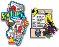 New Jersey Jumbo Map & State Montage Magnet Set by Classic Magnets, 2-Piece Set, Collectible Souvenirs Made in the USA