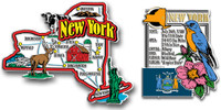 New York Jumbo Map & State Montage Magnet Set by Classic Magnets, 2-Piece Set, Collectible Souvenirs Made in the USA