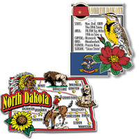 North Dakota Jumbo Map & State Montage Magnet Set by Classic Magnets, 2-Piece Set, Collectible Souvenirs Made in the USA