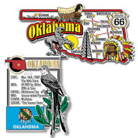 Oklahoma Jumbo Map & State Montage Magnet Set by Classic Magnets, 2-Piece Set, Collectible Souvenirs Made in the USA