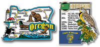 Oregon Jumbo Map & State Montage Magnet Set by Classic Magnets, 2-Piece Set, Collectible Souvenirs Made in the USA