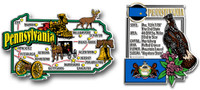 Pennsylvania Jumbo Map & State Montage Magnet Set by Classic Magnets, 2-Piece Set, Collectible Souvenirs Made in the USA