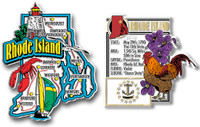 Rhode Island Jumbo Map & State Montage Magnet Set by Classic Magnets, 2-Piece Set, Collectible Souvenirs Made in the USA