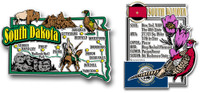 South Dakota Jumbo Map & State Montage Magnet Set by Classic Magnets, 2-Piece Set, Collectible Souvenirs Made in the USA