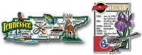Tennessee Jumbo Map & State Montage Magnet Set by Classic Magnets, 2-Piece Set, Collectible Souvenirs Made in the USA