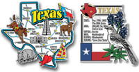 Texas Jumbo Map & State Montage Magnet Set by Classic Magnets, 2-Piece Set, Collectible Souvenirs Made in the USA