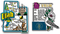 Utah Jumbo Map & State Montage Magnet Set by Classic Magnets, 2-Piece Set, Collectible Souvenirs Made in the USA